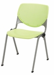 Poly Stack Lime Green Chair with Perforated Back and Silver Frame [2300-P14-IFK]