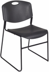 Zeng 31''H Armless Stackable Metal Frame Chair - Black [4400BK-REG]