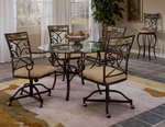 Pompeii 5 Piece Dining Set with Round Metal Table and 4 Caster Chairs - Black Gold [4442DTBCWC-FS-HILL]