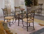 Pompeii 5 Piece Dining Set with Round Metal Table and 4 Chairs - Black Gold [4442DTBC-FS-HILL]