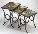 Pompeii 3 Piece Metal and Slate Mosaic Nesting Tables - Black Gold [61713-FS-HILL]