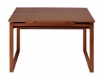 Ponderosa Wood Drafting Table with Adjustable Angle Top and Storage Drawer - Sonoma Brown [13285-FS-SDI]