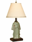 Porcelain Kimono 19''H Accent Lamp with Dove Fabric Shade - Sage [07M633-FS-PAS]