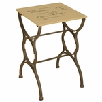 Oil Rubbed Metal Postcard 16''W x 24''H End Table - Black and Cream [2634-FS-PAS]