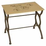 Oil Rubbed Metal Postcard 23''W x 20.5''H Side Table - Black and Cream [2633-FS-PAS]