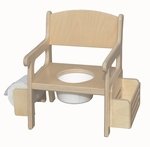 American Made Baltic Birch Potty Chair with Toilet Paper Holder and Book Rack - Unfinished [028-UNF-FS-LC]