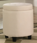Premier 18''H Round Estate Fabric Ottoman with Storage and Solid Wood Legs - Ivory [415343-FS-SRTA]