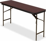 Premium 18'' W x 60'' D Wood Laminate Folding Table with Vinyl T-Mold Edge - Mahogany [55274-ICE]