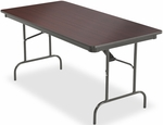 Premium 30'' W x 60'' D Wood Laminate Folding Table with Vinyl T-Mold Edge - Mahogany [55214-ICE]