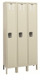 Premium Wardrobe Three Wide Single-Tier Stock Locker Unassembled - 36''W x 12''D x 78''H [U3228-1-HAL]