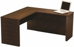 Prestige + L-Shaped Workstation with Scratch and Stain Resistant Finish - Chocolate [99420-1169-FS-BS]