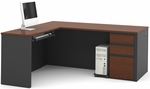 Prestige + L-Shaped Workstation Kit with Modesty Panel and Wire Management - Bordeaux and Graphite [99860-39-FS-BS]