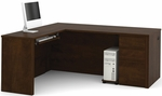 Prestige + L-Shaped Workstation Kit with Modesty Panel and Wire Management - Chocolate [99860-69-FS-BS]