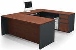Prestige + U-Shaped Workstation Kit with Modesty Panel and Wire Management - Bordeaux and Graphite [99871-39-FS-BS]