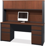 Prestige + Credenza and Hutch Set with Modesty Panel and Wire Management - Bordeaux and Graphite [99851-39-FS-BS]