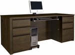 Prestige + Executive Desk Set with Keyboard Shelf and CPU Platform - Chocolate [99850-69-FS-BS]