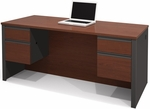 Prestige + Executive Desk with Dual Half Pedestals with 2 Filing Drawers - Bordeaux and Graphite [99450-1139-FS-BS]