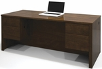Prestige + Executive Desk with Dual Half Pedestals with 2 Filing Drawers - Chocolate [99450-1169-FS-BS]
