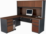 Prestige + L-Shaped and Hutch Assembly with Keyboard Shelf and CPU Platform - Bordeaux and Graphite [99852-39-FS-BS]