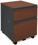 Prestige + Mobile Pedestal with Locking Drawers and Casters - Bordeaux and Graphite [99625-2139-FS-BS]