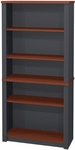 Prestige + Modular 5 Shelf Bookcase with Adjustable Shelves - Bordeaux and Graphite [99700-1139-FS-BS]