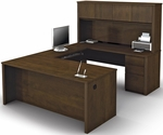 Prestige + U-Shaped and Hutch Assembly with Keyboard Shelf and CPU Platform - Chocolate [99853-69-FS-BS]