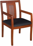 Preston 35''H Side Chair with Slotted Cherry Hardwood Back -Black Fabric [9975-CHBK-FS-REG]