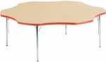 Primary Collection 4000 Series Flower Top Laminate Activity Table with Short Chrome Legs - 60''W x 60''D x 17''H - 25''H [48FLOW60LOCHRM-PC-VCO]