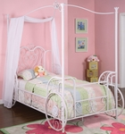 Princess Emily Carriage Canopy Twin Size Bed [374-042-FS-PO]