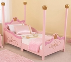Princess Themed Wooden Low Height Toddler Bed with Built in Safety Bed Rails - Pink