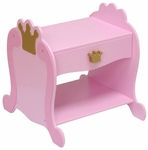 Princess Themed Wooden Low Height Side Table with Storage Drawer - Pink [76124-FS-KK]