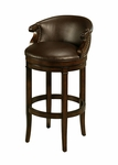 Princetown 30'' Swivel Barstool - Distressed Cherry Finish and Leather Ridge Upholstery [QLPN227250985-FS-PSTL]