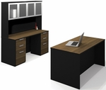 Pro-Concept Executive Kit with High Hutch and Drawers - Milk Chocolate Bamboo and Black [110856-98-FS-BS]