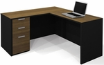 Pro-Concept L-Shaped Workstation in Milk Chocolate Bamboo and Black [110850-98-FS-BS]