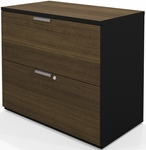 Pro-Concept Lateral File with Two Locking Drawers - Milk Chocolate Bamboo and Black [110630-1198-FS-BS]