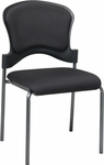 Pro-Line II Upholstered Contour Back Armless Visitors Chair with Titanium Finish Frame - Black [82720-30-OS]