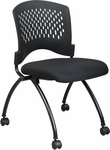 Pro-Line II Deluxe Armless Folding Chair with Plastic Back and Padded Seat - Set of 2 - Black [83220-30-OS]