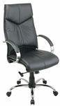 Pro-Line II Deluxe High Back Executive Leather Chair with Padded Chrome Arms - Black [8200-FS-OS]