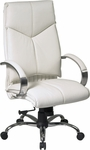 Pro-Line II Deluxe High Back Leather Executive Chair with Chrome Base - White [7270-FS-OS]