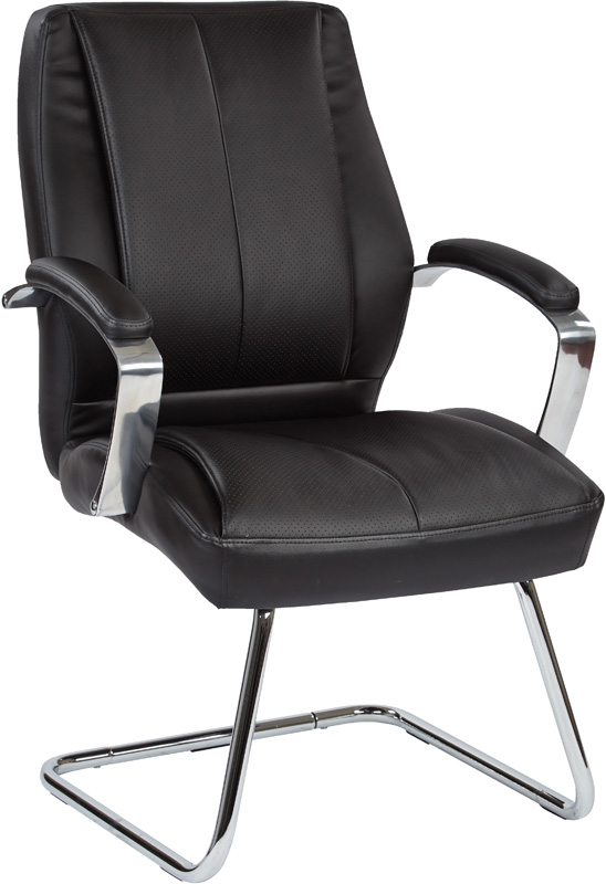 Back executive bonded leather visitors chair black 60315 by office