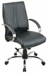 Pro-Line II Deluxe Mid Back Leather Chair with Chrome Base and Padded Chrome Arms - Black [8201-FS-OS]