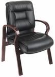 Pro-Line II Deluxe Mid-Back Leather Visitors Chair with Mahogany Finish - Black [8505-FS-OS]
