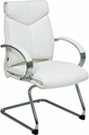 Pro-Line II Deluxe Mid Back Leather Visitors Chair with Padded Arms and Chrome Sled Base - White [7275-FS-OS]