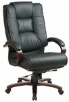 Pro-Line II High-Back Executive Leather Chair with Mahogany Base and Padded Arms - Black [8500-FS-OS]