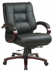 Pro-Line II Mid-Back Mahogany Base Executive Leather Chair with Seat Height Adjustment and Padded Arms - Black [8501-FS-OS]