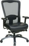 Pro-Line II ProGrid® Mesh High Back and Eco Leather Seat Task Chair with Titanium Base and Casters - Black [97728-EC3-FS-OS]