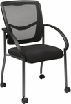 Pro-Line II ProGrid® Titanium Finish Visitors Chair with Armrests and Casters - Black [85640-30-FS-OS]