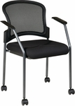 Pro-Line II ProGrid Mesh Back with Padded Fabric Seat Visitors Stack Chair with Casters - Black [86740-30-OS]