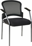 Pro-Line II Titanium Finish Visitors Chair with Arms and Pro Grid Contour Back - Black [86710-30-OS]