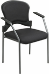 Pro-Line II Titanium Finish Visitors Chair With Arms and Upholstered Contour Back - Black [82710-30-OS]